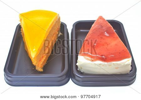 Dessert Orange Cheesecake with Strawberry cheesecake