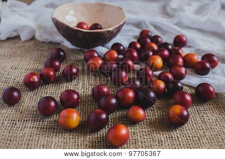 A scattering of plums