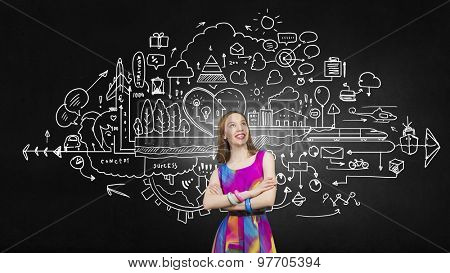 Woman in multicolored dress against sketch background