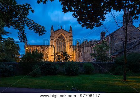West Side Of Hexham Abbey At Night