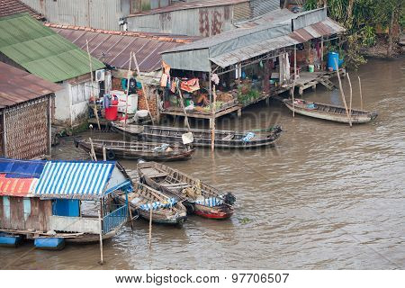 Floating village at Mekong Delta, Vietnam