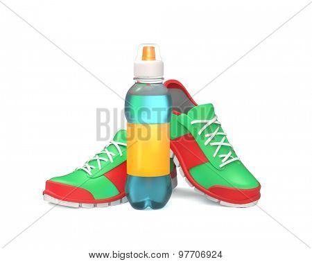 Running shoes with bottle