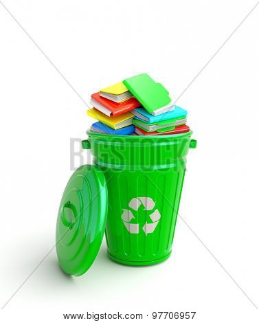 Green garbage bin with notebooks