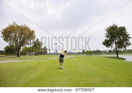 Golfer Ready T-off With Wood Golf