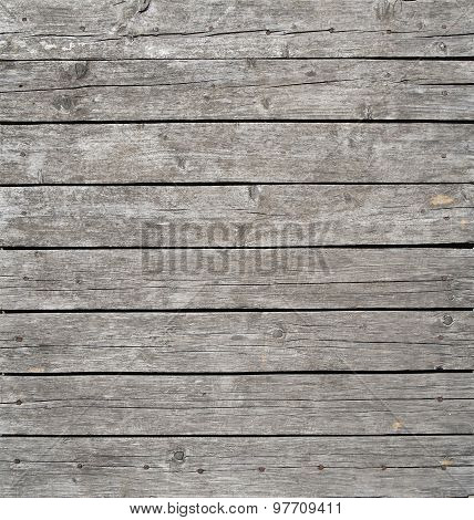 Square Vintage Wooden Panel With Horizontal Planks And Gaps