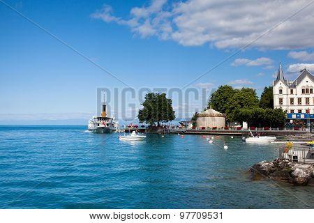 Port In Vevey At Geneva Lake In Switzerland.