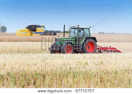 Agricultural Machineries In The Field