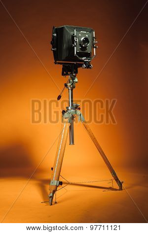 Vintage retro camera on a tripod