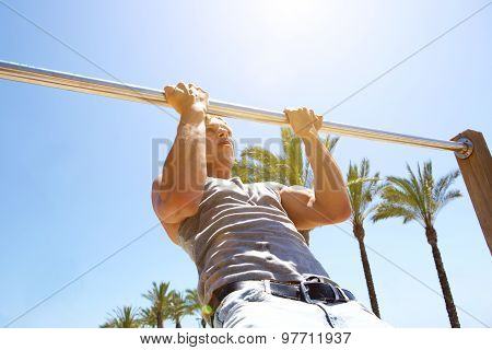 Healthy Young Man Pull Up Exercise Workout