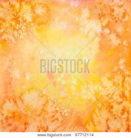 Hand Drawn Orange Watercolor Background