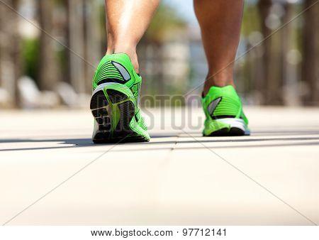 Male In Sport Shoe Walking Outside