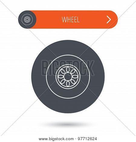 Car wheel icon. Automobile service sign.