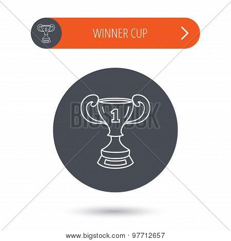 Winner cup icon. Award sign.