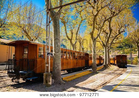 Vintage Train Stops At The Station In Soller