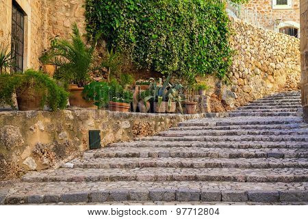 Stone Staircase On The Street Of Fornalutx Village