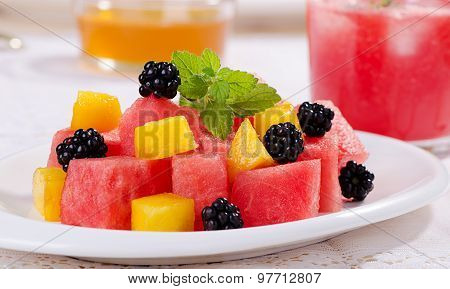 Watermelon, Peach And Blackberry In A Fruit Salad