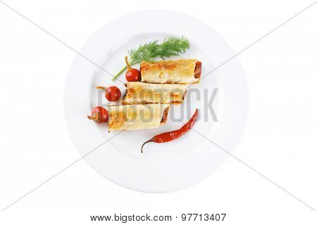 traditional italian cannelloni filled mince meat and pepper