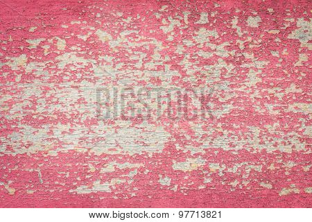 Flaking Red Paint On Faded Wood Background.