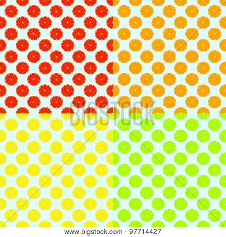 Abstract Seamless Color Background With Citrus-fruit