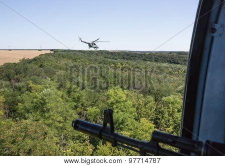 Ukrainian Army Helicopter Patrols Area Of Antiterrorist Operation
