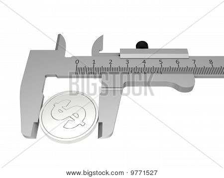 Vernier Calipers With Coin