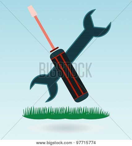 Wrench And Screwdriver Icon, . Grass Concept.