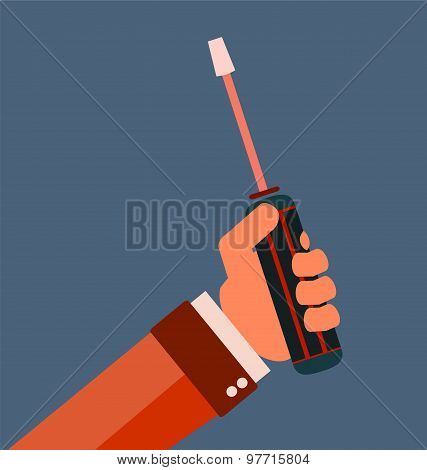 Hand Holding Screwdriver, Hand With Screwdriver.