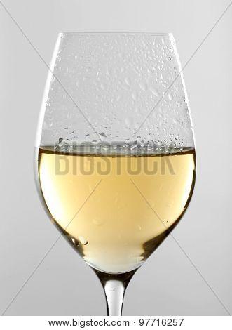 Glass of wine on grey background