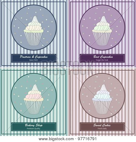 Set of templates with cute hand drawn cupcake illustrations