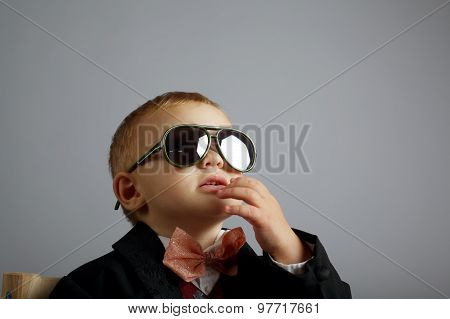 little gentleman with sunglasses