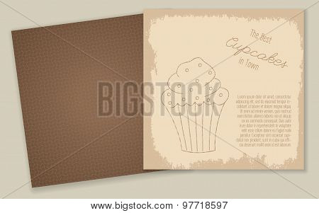 Set of templates with cute hand drawn cupcake illustrations.