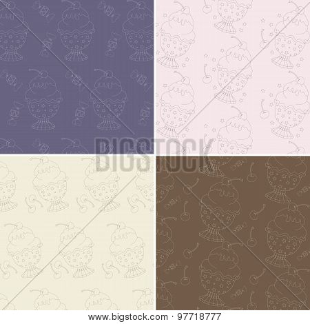 Set of four seamless patterns with cute hand drawn ice cream ill