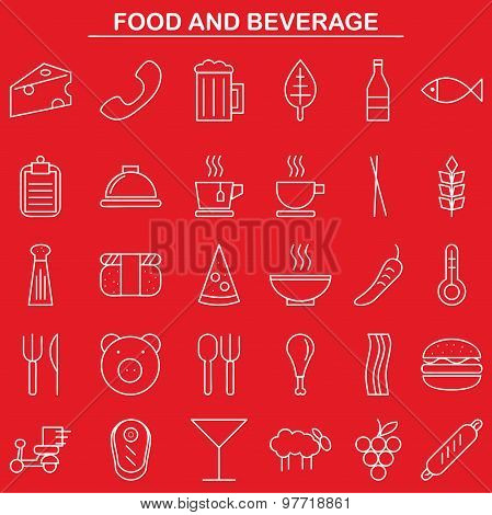 food and beverage linear icon style