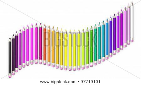 Set of colored pencil. Pencils are aligned following a wave and sorted using rainbow colors.