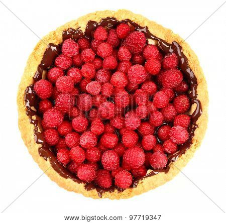 Tart with fresh raspberries, isolated on white