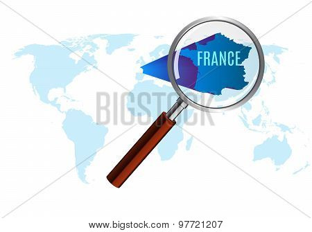 World map with france magnified by loupe