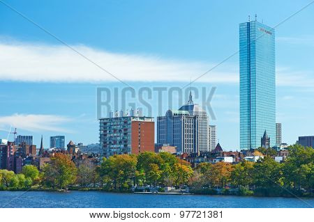 Boston view from Harvard Bridge at Massachusetts, USA
