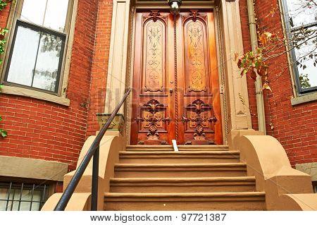 Street at Boston neighborhood, USA.