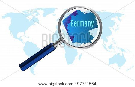 World map with germany magnified by loupe