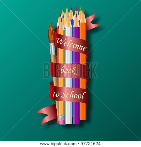 Colorful pencil crayons with text Back to school on ribbon.