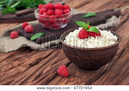 Dessert Of Cottage Cheese And Fresh Raspberries