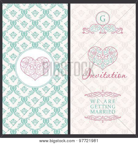Vintage vector card templates. Wedding, married, save the date, baby, mothers day, valentines day, birthday card, invitation. Seamless pattern is background