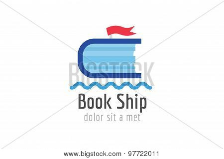 Book ship template logo icon. Back to school. Education, university, college symbol or knowledge, bo