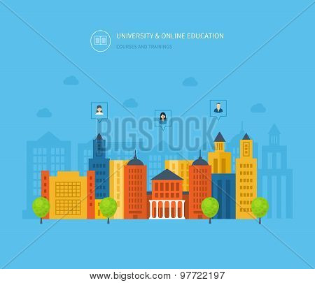 Flat design modern vector illustration icons set of online education, online training courses, e-lea