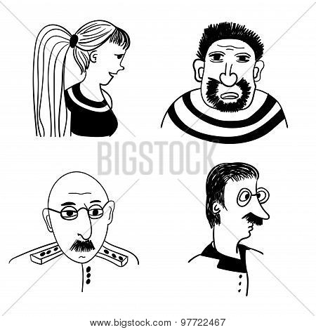comic portraits of different people vector illustration