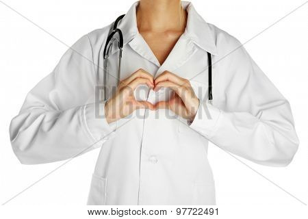 Doctor with stethoscope, isolated on white