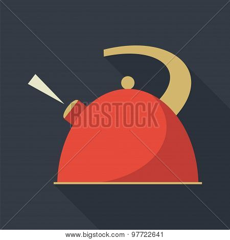 Boiling Kettle With Long Shadow.