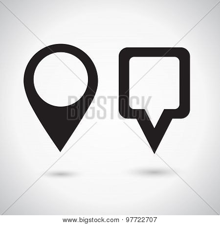 Map Pointer Icon. Location marker symbol. Round and square shape
