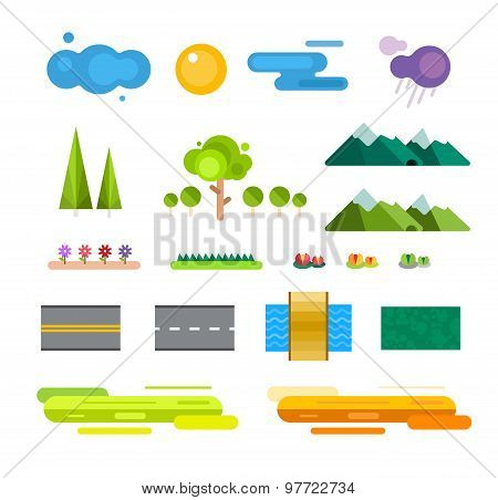 Abstract landscape constructor icons set. Buildings, houses, trees and architecture signs for map, g