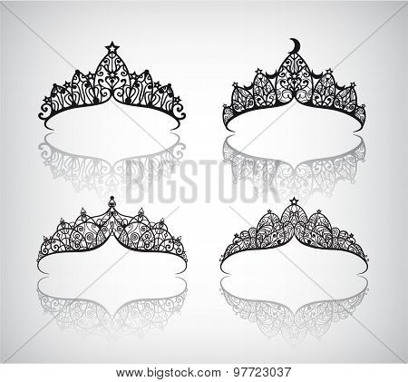 vector set of hand drawn lace beautiful decorated with pattern vintage crowns isolated.